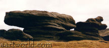 wind scuptired gritstone tors on Kinder